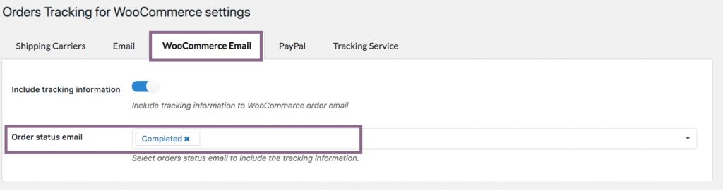 configuración Orders Tracking for WooCommerce