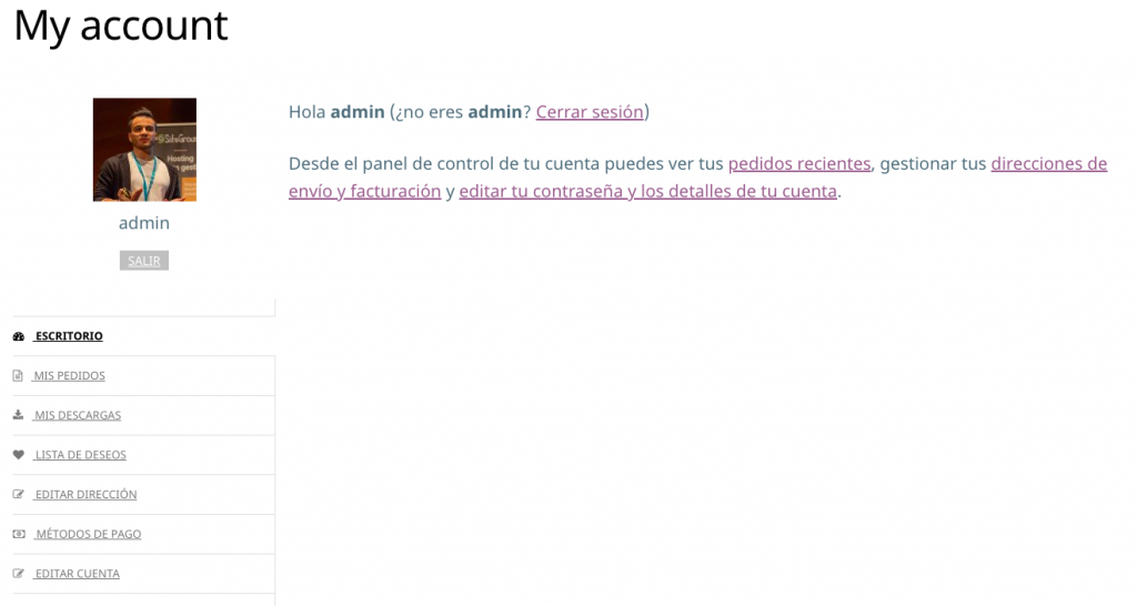 configurar YITH WOOCOMMERCE CUSTOMIZE MY ACCOUNT PAGE