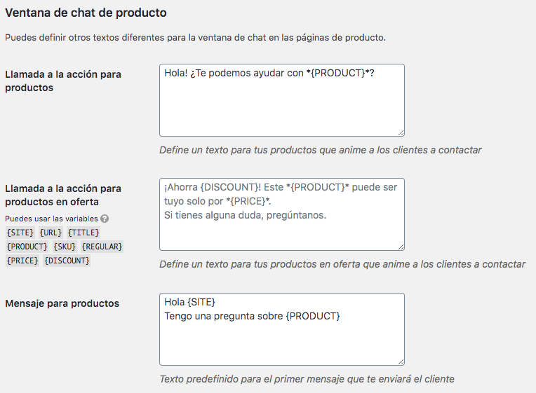 ajustes join chat en woocommerce
