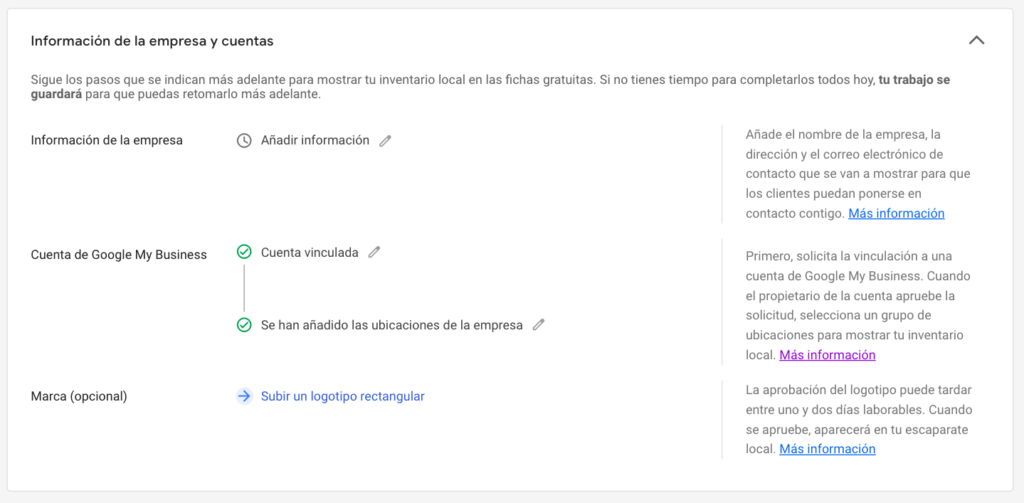 configurar productos google my business