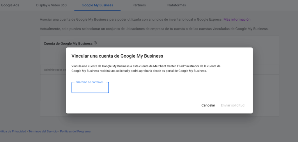 vincular merchant center con google my business